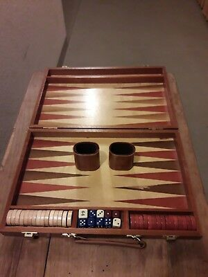 Backgammon Spiel in Holzbox Vintage