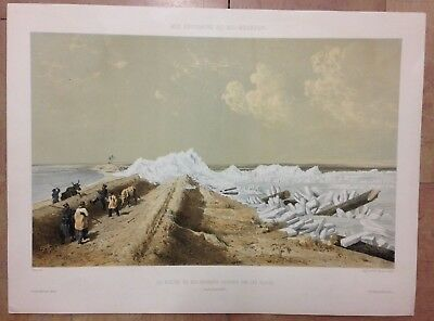 UKRAINE THE ICE DURING BATTLE KINBURN by CICERI 19TH CENTURY LARGE ANTIQUE VIEW