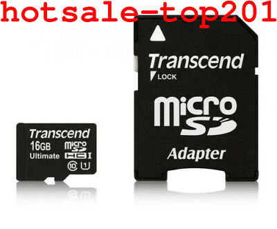 Hot Transcend 16GB Premium Class 10 Micro SD Card + Adapter SDHC TF Flash Memory