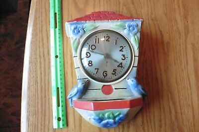 Vintage Wall clock movement by Sessions porcelain bird bath with blue birds