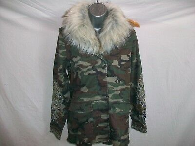 River Island  Girls/Ladies Combat  Style  Jacket With Removable  Fur  Collar 6 ,