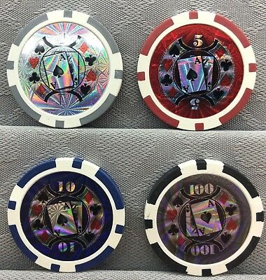 HOLOGRAPHIC ACE KING, CASINO POKER CHIP GOLF BALL MARKERS - 12g, 39mm