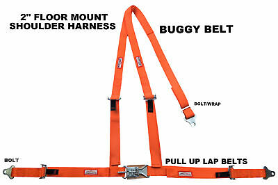 Jeep 3 Point Seat Belt Harness Y Floor Mount Latch & Link Pull Up Bolt In Orange