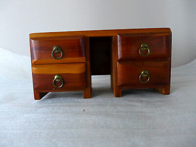 "Vintage Salesman Sample Dresser Mid Century Modern 4 drawers Cedar Wood 8""x4"""