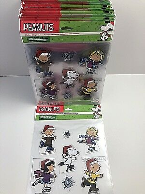 Peanuts Christmas Holiday Winter Window Clings Snoopy Charlie Brown Linus * New