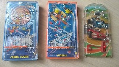3 x 1976 BlueBox vintage toy Mini Mate Pocketeer type Hand held pocket pinball