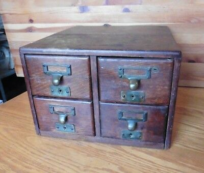 Antique Library Card Wooden Drawers Vintage 4-drawer locking PAT July 4th 1899