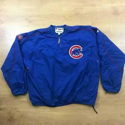 Chicago Cubs MLB Baseball Majestic Blue Jacket Pullover XL Authentic Vintage