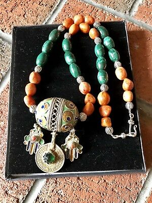 Tagmoute Morrocan Egg with Orange Sponge Bamboo coral and malachite lace jasper.