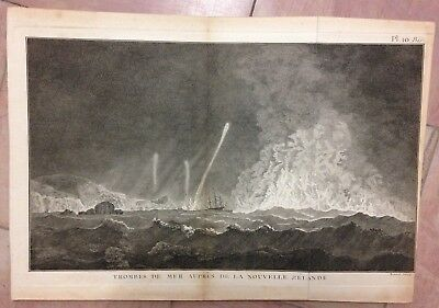 NEW ZEALAND MARINE 1774 JAMES COOK 18e CENTURY LARGE ANTIQUE ENGRAVED VIEW