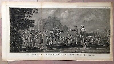 NEW HEBRIDES 1774 JAMES COOK XVIIIe CENTURY LARGE ANTIQUE COPPER ENGRAVED VIEW