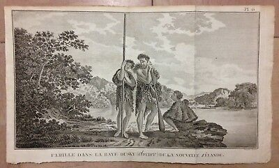 NEW ZEALAND A FAMILY IN BAY DUSKY 1774 JAMES COOK 18e CENTURY LARGE ANTIQUE VIEW