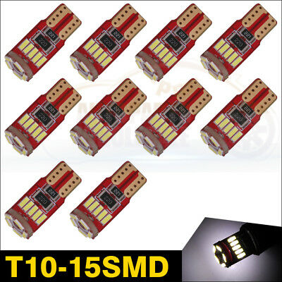 10pcs T10 Wedge 168 W5W 15SMD 4014 LED White Dome Interior License Plate Light