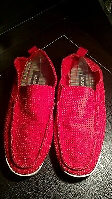 60065137d37 NEW STEVE MADDEN Omitt Red Fabric Slip On Loafer Shoes Mens 12 ...