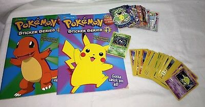POKEMON Sticker Series #1 & 2 1998 PLUS Large Lot of Cards
