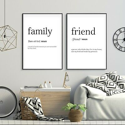 Set of 2 Family & Friend Funny Meaning Black Home Poster Prints Wall Art Decor