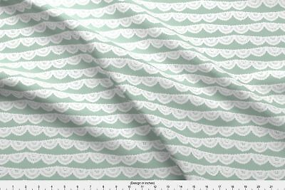 Lace Mint Scallops Vintage Turquoise Fabric Printed by Spoonflower BTY