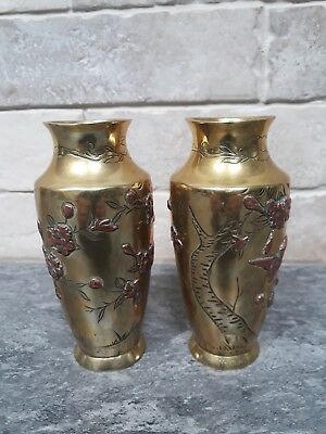 Pair Japanese meiji period  brass with copper vases