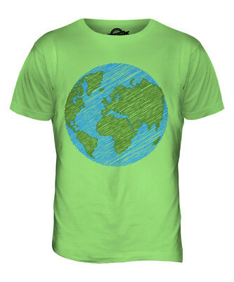 Scribbled Earth Mens T-Shirt Tee Top Gift Peace Planet