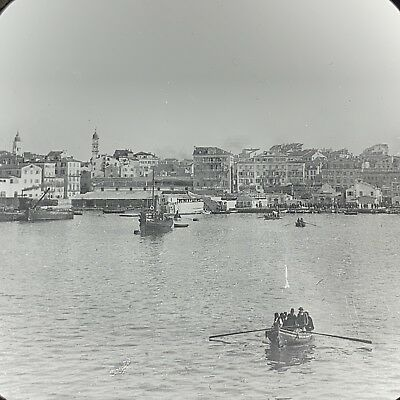 Corfu From The Anchorage Dock Boats Antique Magic Lantern Glass Slide Photo