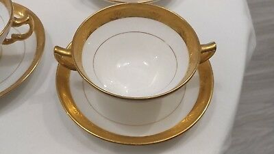 Stately Mintons Tiffany & Co.Gold-Encrusted  1 CREAM SOUP & SAUCER Pattern H1032