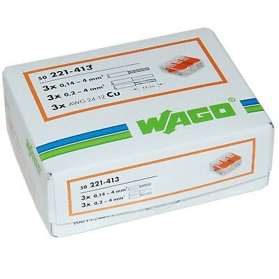 WAGO 221-413 3-WAY LEVER TYPE CONNECTOR  50pcs. Pack *Cheaper than Screwfix*