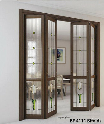 "Stained Glass Bifolds in Solid wood 13/8"" thick  hemlock  for staining,painting"