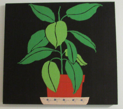 """Vintage Mid Century Modern Stretched Framed Cotton Linen Fabric Wall Art 24"""" SQ"""
