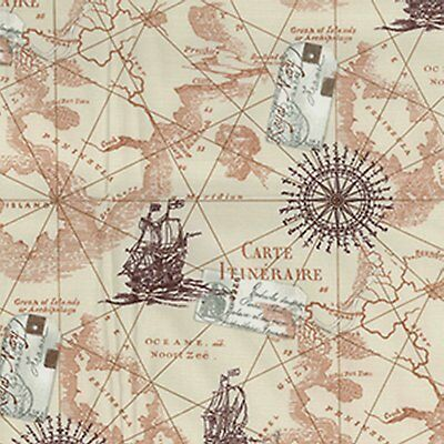 Cotton Fabric / Material - Ivory Vintage Map Fabric - 0452