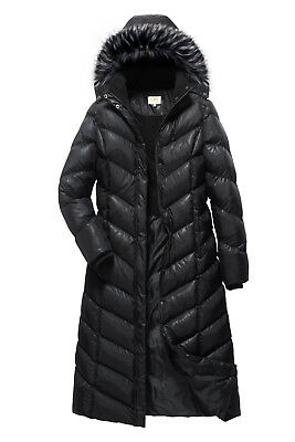 ELORA Womens Warm Winter Heavyweight Quilted 40 inch Long Fleece Trim Puffer Coat Parka Removal Hood
