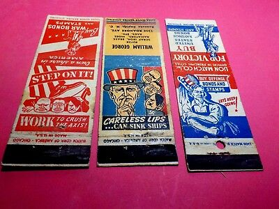 3 Ww 2  Vintage  Match Book Covers
