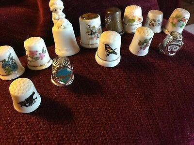 antique vintage  thimbles lot Of 13 Flowers birds states holly hobby