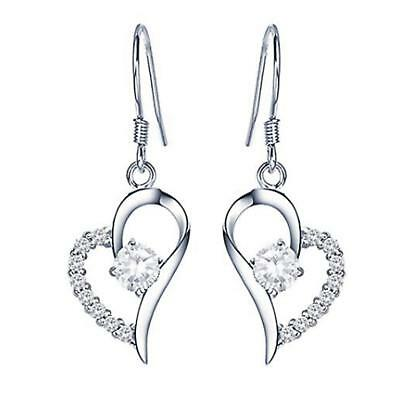 925 Sterling Silver Heart Shape Cubic Zirconia Crystal Ear Dangle Drop Earrings