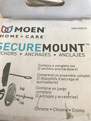 New Moen Sma1000Ch Home Care Secure Mount Grab Bar Anchor Kit Chrome