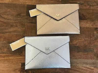 46e6c1c4db69 Michael Kors Barbara Soft Envelope Clutch Crossbody Leather Bag Silver Gold  NEW