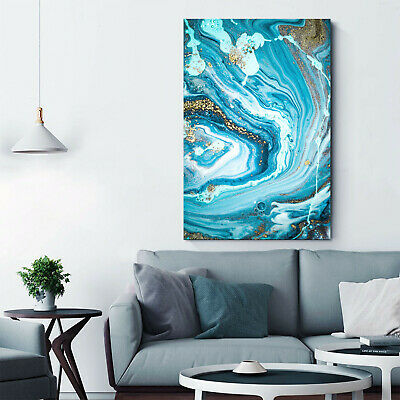 Abstract Marble Blue Gold Framed Canvas Wall Art Print Living Room Prints