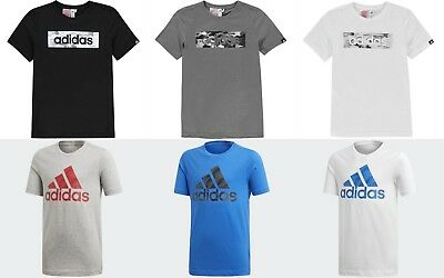 2019  Boys Adidas Short Sleeves Logo Repeated T-Shirt Top Size Age 7-13 Genuine