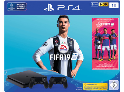 SONY PS4 Playstation 4 Slim 1TB schwarz + FIFA 19 + 2. Controller