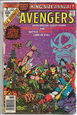 Avengers Annual 7 KEY THANOS Low Grade No Back Cover Starlin Infinity War