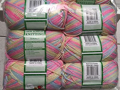 Knitting wool 6 x 100g acrylic yarn 8ply Multi Colour Pastels 100% Brand New