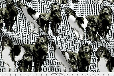 Newfoundland Dog Newfy Newfies Family Black Fabric Printed by Spoonflower BTY