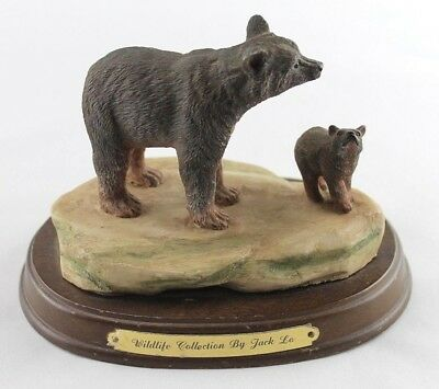 Realistic Ceramic Brown Bear and Cub Sculpture Jack Lo Wildlife Collection 1988