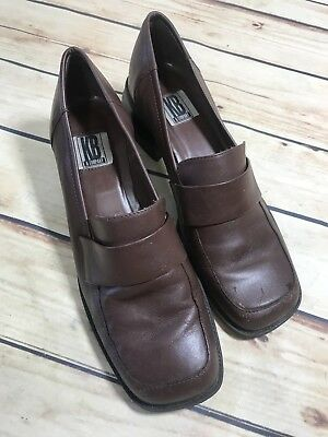 06366f2d41 KB COMPANY Womens Size 9 Brown Leather Buckle Low Heel Slip On Loafers Shoe