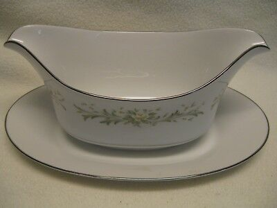 Grace Fine China Japan Rhapsody Gravy Boat with Attached Under Plate Excellent