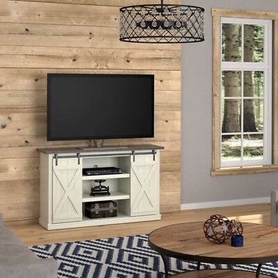 Rustic Tv Stand Farmhouse Old Wood White Finish Barn Door Style