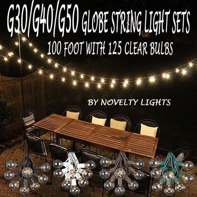 100 Foot Globe Patio Outdoor String Light Set of 125 G50/G40/G30 Clear Bulb LOT