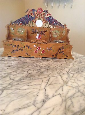 Italian Circa 1940's Hand Painted Hand Carved Wooden Ink Well Rare