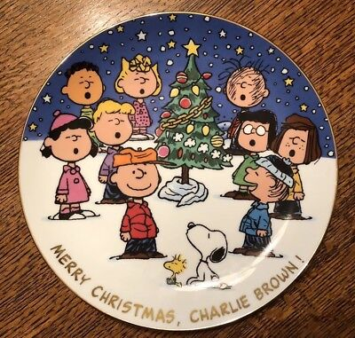 Merry Christmas Charlie Brown.Merry Christmas Charlie Brown Decorative Plate The Danbury Mint Peanuts Snoopy