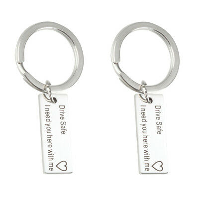 USA Hand Stamped Keyring Drive Safe I Need You Here With Me Heart Charm Keychain