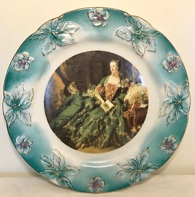 Antique NIPPON Hand Painted Portrait Plate w/ Gold Highlights Teal Raised Leaves